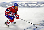 31 January 2009: Montreal Canadiens' defenseman Francis Bouillon brings the puck up ice in the second period against the Los Angeles Kings at the Bell Centre in Montreal, Quebec, Canada. The Canadiens defeated the Kings 4-3. ***** Editorial Sales Only ***** Mandatory Photo Credit: Ed Wolfstein Photo