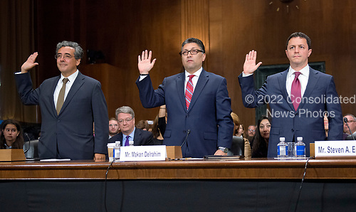 From left to right: Noel J. Francisco, Makan Delrahim, and  Steven A. Engel are sworn-in to testify before the United States Senate Committee on the Judiciary on their nominations to be Solicitor General of the US, Assistant Attorney General, Antitrust Division of the Department of Justice, and Assistant Attorney General, Office of Legal Counsel, US Department of Justice, respectively, on Capitol Hill in Washington, DC on Wednesday, May 10, 2017.<br /> Credit: Ron Sachs / CNP