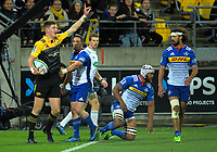 Jordie Barrett appeals for a try during the Super Rugby match between the Hurricanes and Stormers at Westpac Stadium in Wellington, New Zealand on Friday, 5 May 2017. Photo: Dave Lintott / lintottphoto.co.nz