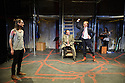 London, UK. 04.05.2016. The Busker's Opera, by Dougal Irvine, opens at the Park Theatre.  Directed by Lotte Wakeham, with set design by Anna Kezia Williams and lighting design by Christopher Nairne. Picture shows: George Maguire (Macheath), David Burt (Jeremiah Peachum), Simon Dylan-Kane (Mayor Lockitt). Photograph © Jane Hobson.