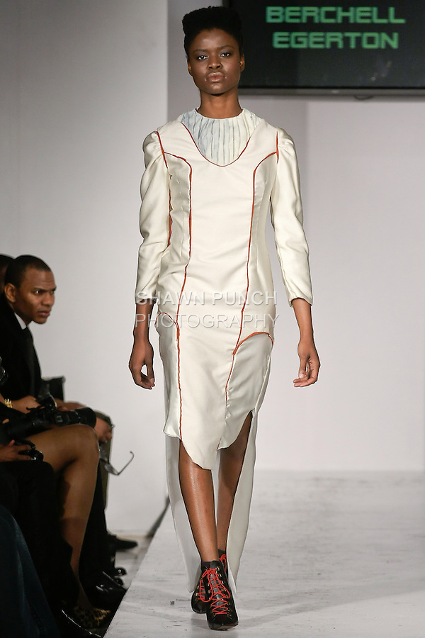 Model walks runway in an outfit from the Berchell Egerton Fall Winter 2012 &quot;Chival Die Damsel&quot; collection, by Berchell Egerton, during BK Fashion Weekend Fall Winter 2012.