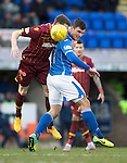 St Johnstone v Motherwell&hellip;20.02.16   SPFL   McDiarmid Park, Perth<br />John Sutton and Stephen McManus<br />Picture by Graeme Hart.<br />Copyright Perthshire Picture Agency<br />Tel: 01738 623350  Mobile: 07990 594431