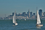San Francisco, California skyline with sail boats in the foreground