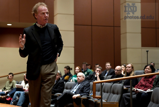"""Feb. 4, 2011; Peter M. Senge, Ph.D. speaks at Jordan Auditorium as part of the """"Ten Years Hence"""" lecture series.  Senge is a Senior Lecturer at the Massachusetts Institute of Technology. He is also Founding Chair of SoL, the Society for Organizational Learning...Photo by Matt Cashore/University of Notre Dame"""