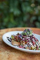 Grilled bread with green and red tomatoes, red onion, cucumber, basil and feta at Farm Table in Wake Forest, N.C. on Wednesday, September 17, 2014. (Justin Cook)