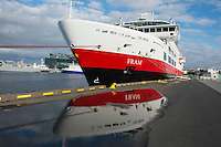 Hurtigruten cruise, The Fram ship in Reykjavik, Iceland.