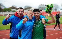 Lee Beevers, Terry Hawkridge and Josh Ginnelly celebrate the victory<br /> <br /> Photographer Andrew Vaughan/CameraSport<br /> <br /> Vanarama National League - Gateshead v Lincoln City - Monday 17th April 2017 - Gateshead International Stadium - Gateshead <br /> <br /> World Copyright &copy; 2017 CameraSport. All rights reserved. 43 Linden Ave. Countesthorpe. Leicester. England. LE8 5PG - Tel: +44 (0) 116 277 4147 - admin@camerasport.com - www.camerasport.com