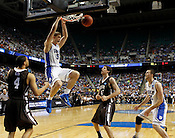 Mason Plumlee dunks the ball in the begining of the second half. Lehigh defeated Duke 75-70 during the 2nd round of the 2012 NCAA Basketball Championship at the Greensboro Coliseum in Greensboro, NC. Photo by Al Drago.