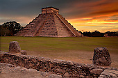 The Kukulcan Pyramid or El Castillo at Chichen Itza, Yucatan, Mexico.