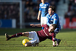 Hearts v St Johnstone&hellip;19.03.16  Tynecastle, Edinburgh<br />Danny Swanson is tackled by Liam Smith<br />Picture by Graeme Hart.<br />Copyright Perthshire Picture Agency<br />Tel: 01738 623350  Mobile: 07990 594431