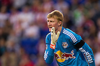 New York Red Bulls goalkeeper Ryan Meara (18). The New York Red Bulls and the San Jose Earthquakes played to a 2-2 tie during a Major League Soccer (MLS) match at Red Bull Arena in Harrison, NJ, on April 14, 2012.