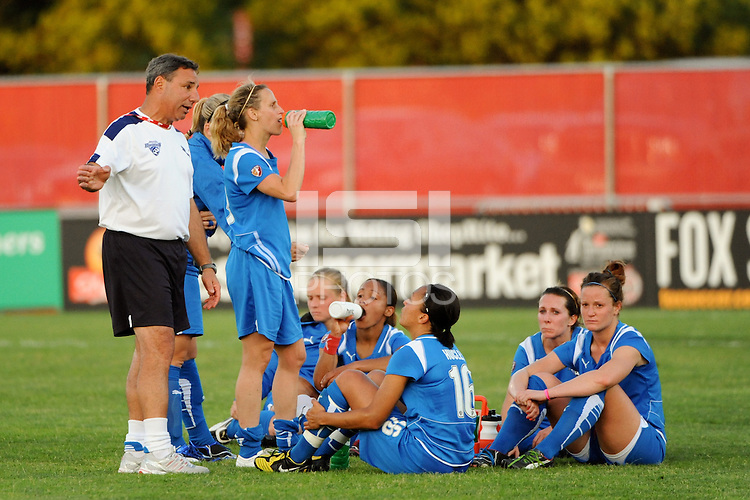 Boston Breakers head coach Tony DiCicco talks to the team after the game. Sky Blue FC defeated the Boston Breakers 2-1 during a Women's Professional Soccer match at Yurcak Field in Piscataway, NJ, on May 31, 2009.