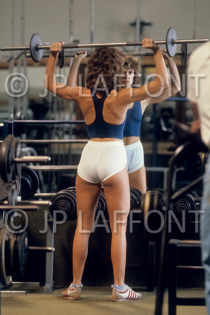 Los Angeles, 1980. Peggy Russell training.