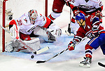 31 March 2010: Carolina Hurricanes' goaltender Cam Ward makes a third period save against the Montreal Canadiens at the Bell Centre in Montreal, Quebec, Canada. The Hurricanes defeated the Canadiens 2-1. Mandatory Credit: Ed Wolfstein Photo