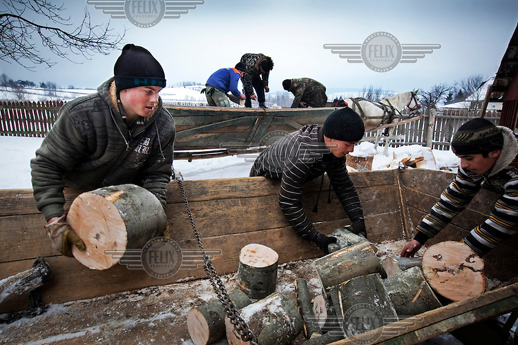 Men unload cut logs from a cart. The cold weather has resulted in an increased demand for wood.
