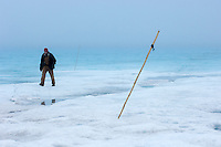 Scientist using bamboo poles to study surface changes on the Greenland ice sheet surface in summer.