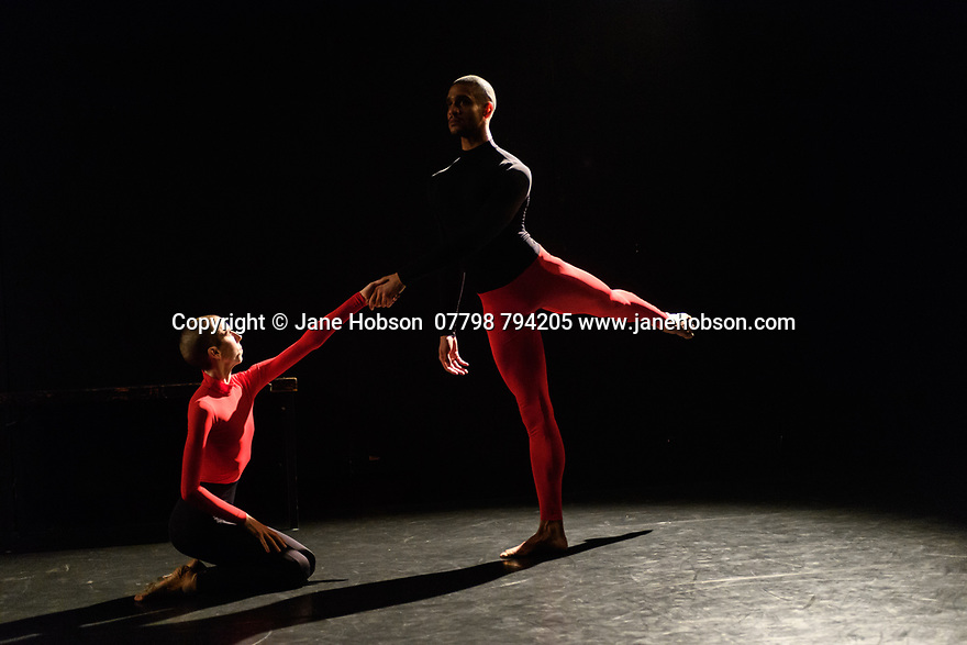 """Julie Cunningham & Company present """"Returning"""" and """"To Be Me"""", in a double bill, in The Pit, at the Barbican Centre. The piece shown is """"To Be Me"""". The dancers are: Julie Cunningham, Harry Alexander, Hannah Burfield, Alexander Williams."""