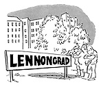 (Soviet Russian workers put up a town sign reading 'Lennongrad')