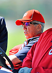 24 February 2012: Washington Nationals' Manager Davey Johnson watches batting practice at the Carl Barger Baseball Complex in Viera, Florida. Mandatory Credit: Ed Wolfstein Photo