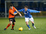 St Johnstone v Dundee Utd..10.11.15  SPFL Development League.  McDiarmid Park, Perth.<br /> Chris Millar fends off Charlie Telfer<br /> Picture by Graeme Hart.<br /> Copyright Perthshire Picture Agency<br /> Tel: 01738 623350  Mobile: 07990 594431
