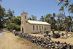 Hawaii: Molokai, church and gravesite at Kalawao of leper priest, Father Damien de Veuster.Photo himolo168-72281..Photo copyright Lee Foster, www.fostertravel.com, lee@fostertravel.com, 510-549-2202