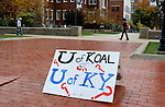 UK students disrupt the University of Kentucky Board of Trustees meeting Wednesday, October 27, 2009, after the board voted in favor of a proposal to build a $7 million Wildcat Coal Lodge. The meeting had to recess after 30 audience members, mostly students, were deemed too disruptive. .Photo by Zach Brake | Staff