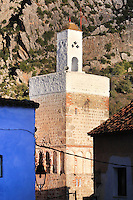 Minaret in the medina or old town of Chefchaouen in the Rif mountains of North West Morocco. Chefchaouen was founded in 1471 by Moulay Ali Ben Moussa Ben Rashid El Alami to house the muslims expelled from Andalusia. It is famous for its blue painted houses, originated by the Jewish community, and is listed by UNESCO under the Intangible Cultural Heritage of Humanity. Picture by Manuel Cohen