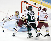 Cory Schneider (Boston College - Marblehead, MA) is unable to control the puck as Tim Filangieri (Boston College - Islip Terrace, NY), Tim Kennedy (Michigan State - Buffalo, NY) and Brett Motherwell (Boston College - St. Charles, IL) watch. The Michigan State Spartans defeated the Boston College Eagles 3-1 (EN) to win the national championship in the final game of the 2007 Frozen Four at the Scottrade Center in St. Louis, Missouri on Saturday, April 7, 2007.