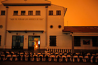 Young men train to be Bolivian Navy officers outside the main building at the naval school in La Paz. Bolivia lost what is now northern Chile in a war over nitrates leaving Bolivia without access to the ocean.