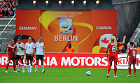Free kick of Canada during the FIFA Women's World Cup at the FIFA Stadium in Berlin, Germany on June 26th, 2011.