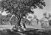 Mission village at Saint Johns, Antigua, West Indies, drawing by L Stobwasser, in the Musee d'Aquitaine, Cours Pasteur, Bordeaux, Aquitaine, France. Picture by Manuel Cohen
