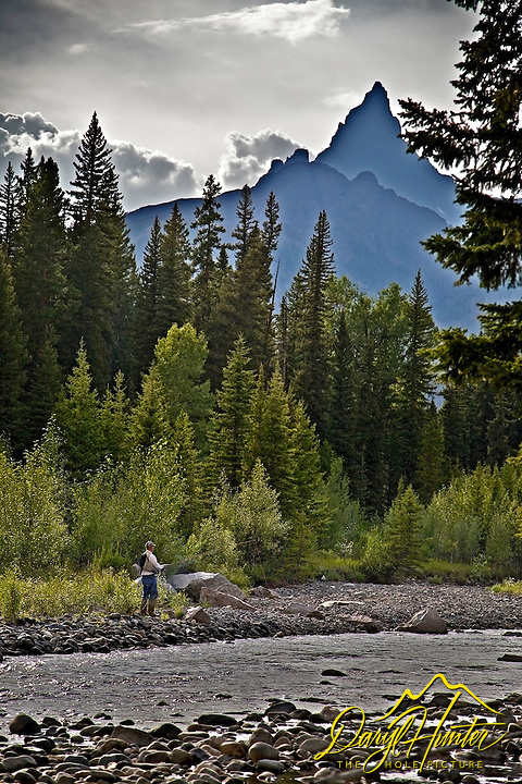 Fly fisherman clarks fork river beartooth mountains for Cody wyoming fly fishing