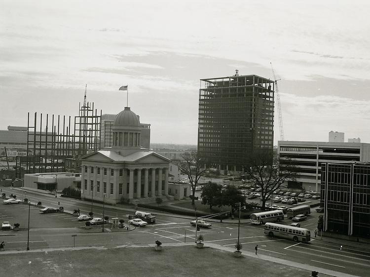 1969 November 28..Redevelopment...Downtown South (R-9)..Parking lot behind JC Penney; UNB garage under construction.Macarthur Memorial.Looking Southeast..Millard Arnold.NEG#.NRHA#..