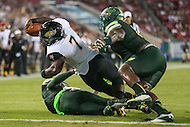 Tampa, FL - September 3, 2016: Towson Tigers running back Darius Victor (7) dives for a touchdown during game between Towson and USF at the Raymond James Stadium in Tampa, FL. September 3, 2016.  (Photo by Elliott Brown/Media Images International)
