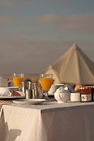 Detail of the outdoor breakfast table at the Al Khaluf beach camp