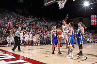 STANFORD, CA - March 21, 2016: Stanford Cardinal defeats the South Dakota State Jackrabbits 66-65 in a second round NCAA tournament game at Maples Pavilion. Kailee Johnson celebrates after Lili Thompson makes the tying basket with 8 seconds left in the game.
