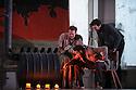 London, UK. 14.10.2015. English National Opera presents, in a co-production with Dutch National Opera, Amsterdam, Puccini's LA BOHEME, at the London Coliseum. Picture shows: Duncan Rock (Marcello), Nicholas Masters (Colline), Zach Borichevsky (Rodolfo).  Photograph © Jane Hobson.