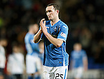 St Johnstone v Dundee....27.11.15  SPFL  McDiarmid Park, Perth<br /> Chris Kane applauds as he is subbed<br /> Picture by Graeme Hart.<br /> Copyright Perthshire Picture Agency<br /> Tel: 01738 623350  Mobile: 07990 594431