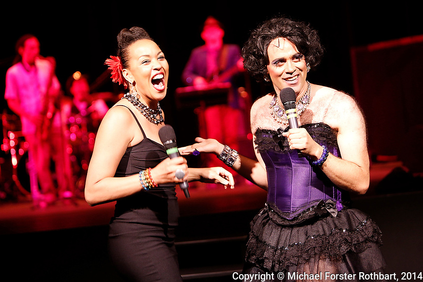 Swarthmore College alumni perform in a Sesquicentennial Cabaret in the Lang PAC during the college&rsquo;s 150th reunion, June 7, 2014. Performers included Quinn Bauriedel, Dito van Reigersberg (as Martha Graham Cracker), Kit Buckley and Maya Azucena (all class of 1994), Eva Amesse &rsquo;11, Judith Lorick &rsquo;69 and Sixteen Feet.<br />