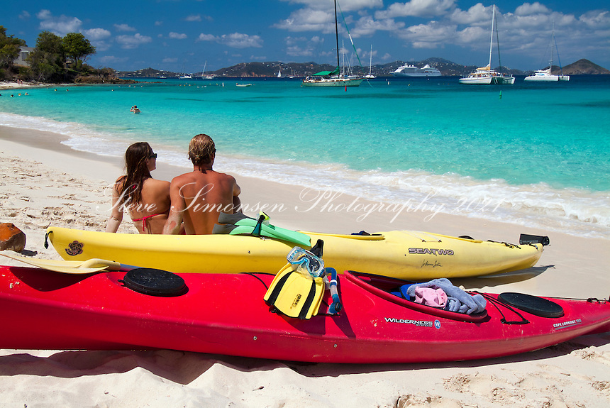 Kayakers on the beach at Honeymoon<br /> Virgin Islands National Park<br /> St. John<br /> U.S. Virgin Islands