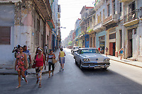 Havana, Cuba. Vintage American cars at Central Habana.