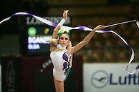 "Olga Sganzerla of Italy balances with ribbon at 2008 World Cup Kiev, ""Deriugina Cup"" in Kiev, Ukraine on March 22, 2008."