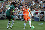 22 July 2009: Collette McCallum (right) of Sky Blue FC pushes the ball past Kia McNeill (6) of Saint Louis Athletica.  Saint Louis Athletica defeated the visiting Sky Blue FC 1-0 in a regular season Women's Professional Soccer game at Anheuser-Busch Soccer Park, in Fenton, MO.