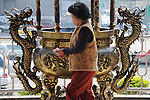 Bao-jhong Yi-min Temple, Kaohsiung -- Taoist believer.