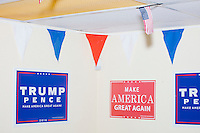Campaign signs are seen in the Donald Trump campaign office in Hialeah, Miami, Florida.