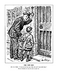 """The New Boy. Mr R A Butler: """"It may not be very easy at first, but you'll soon settle down."""" [The new Education Act came into force on April 1st.] (Rab Butler rings the school bell for a new boy carrying a satchel of Opportunity and wearing an Education Act jacket)"""