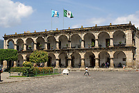 Palacio de Ayuntamiento or Town Hall facing the Parque Central, Antigua, Guatemala. Antigua is a UNESCO World heritage site...