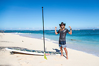 Namotu Island, Fiji (Monday, June 8, 2015) Matt Wilkinson (AUS) standup paddling during a layday. - With inconsistent and declining surf on offer at Cloudbreak a second consecutive lay day was called at the Fiji Pro, stop No. 5 on the 2015  WSL Championship Tour.<br /> Conditions were good with offshore winds but the surf was only in the 2'-3' range with the sets  in the waist- to head-high range and really inconsistent. The organisers are still tracking a great swell for the end of the week.  Photo: joliphotos.com