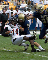 Pitt Panthers Wide Receiver Austin Ransom puts a punishing hit on Cincinnnati Bearcats Kick Returner Dominick Goodman during the Panthers 24-17 victory over the Bearcats on 10-20-07 at Heinz Field, Pittsburgh, Pennsylvania.