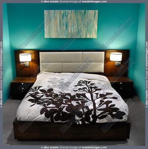 Stylish bedroom interior design in blue colors